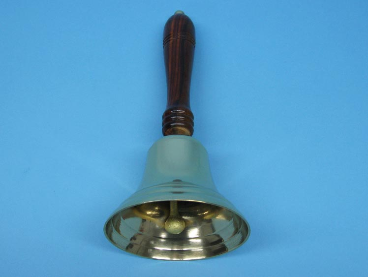 Brass Bell with Wood Handle: 10""