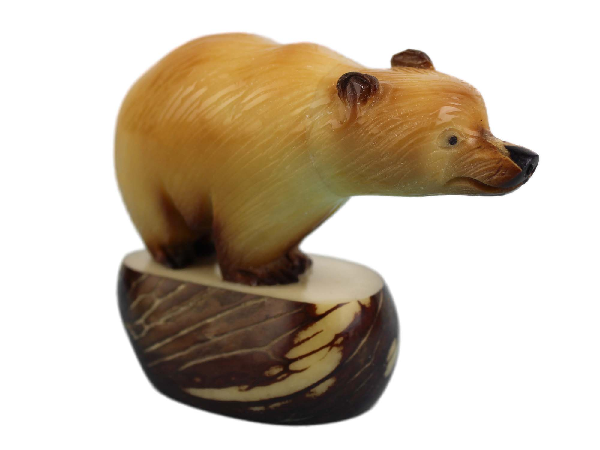 Tagua Nut Carving: Brown Bear