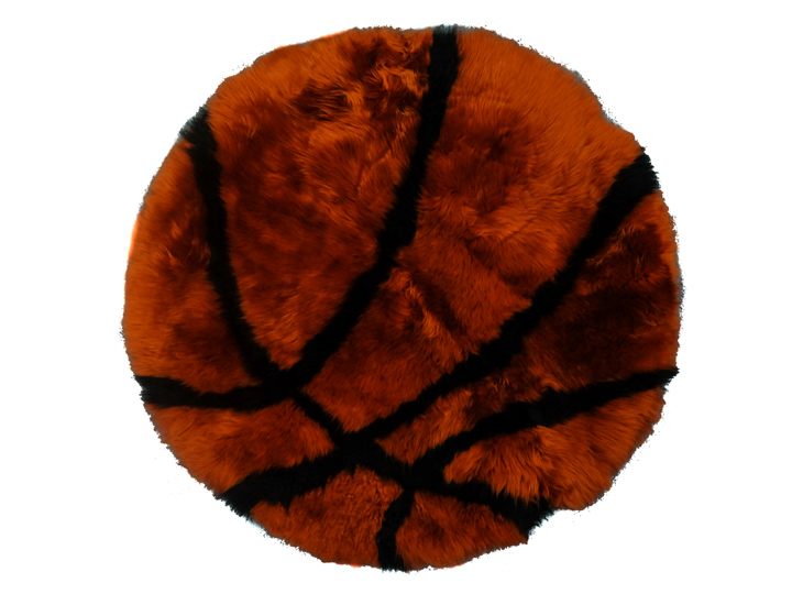 Designer Sheepskin Rug: Basketball