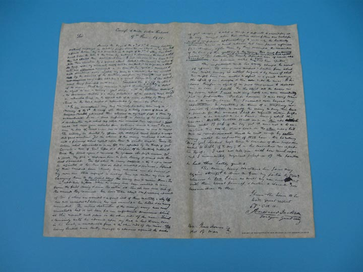Andrew Jacksons Report of the Battle of N Orleans 1815 Parchment