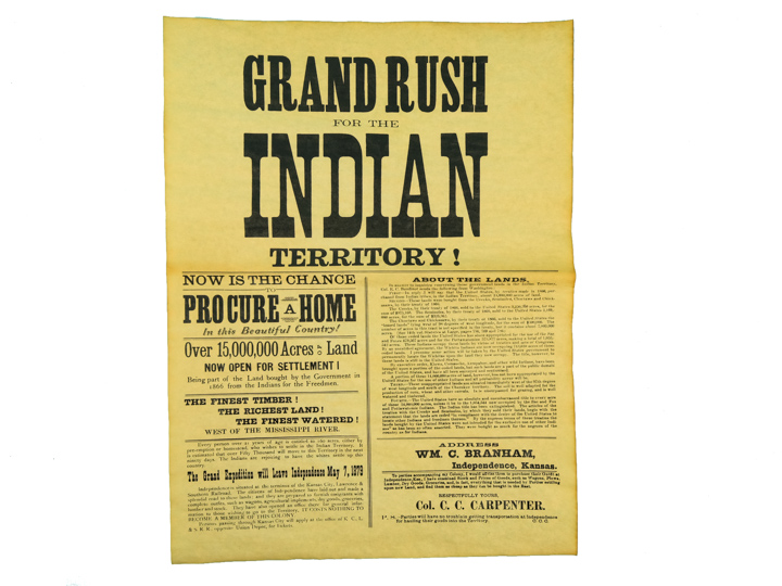 Grand Rush for Indian Territory 1879 Parchment