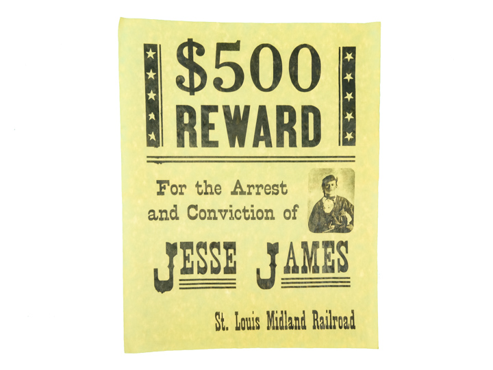 $500 Reward for the Arrest of Jessie James Parchment