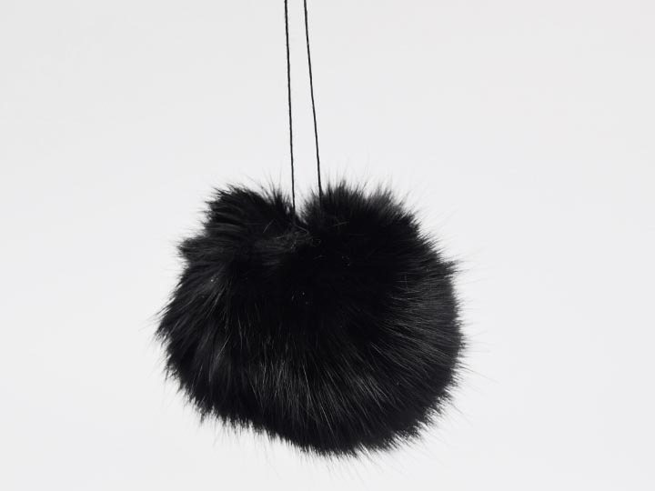 Dyed Black Czech Rabbit Fur Pompom