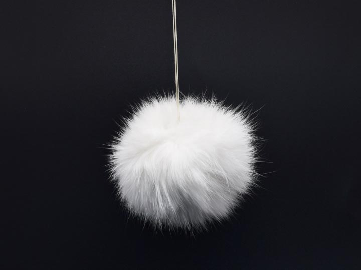 White Czech Rabbit Fur Pompom