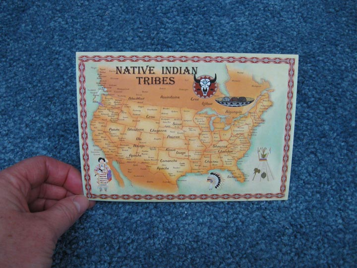 Native American Tribe Map Postcard