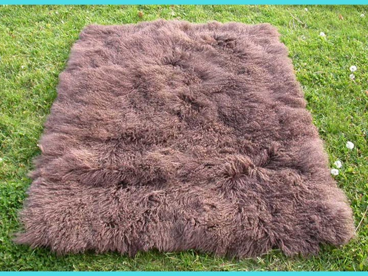 Tibet Lamb Rug: ~4x6 ft: Chocolate Brown