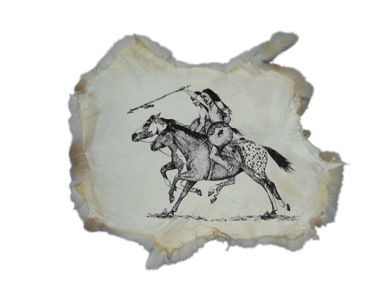 Printed Rabbit Skin: Indians on Horses