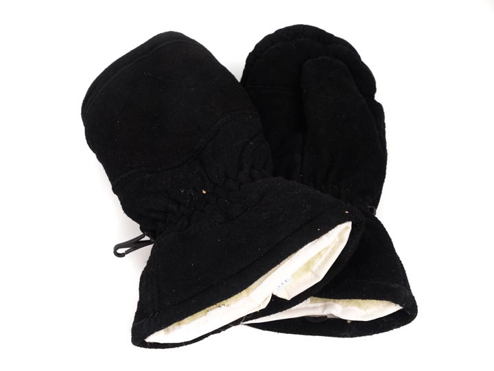 Suede Lined Black Mitts (Men)