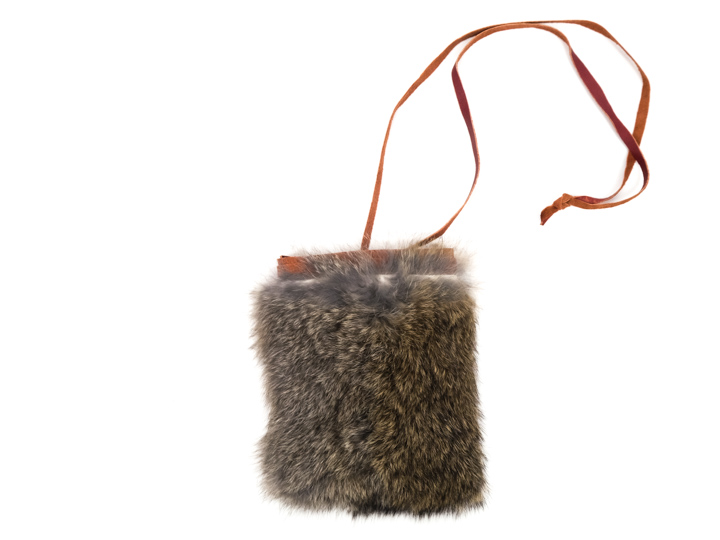 "4"" x 4"" Rabbit Fur Bag with Neck Strap"