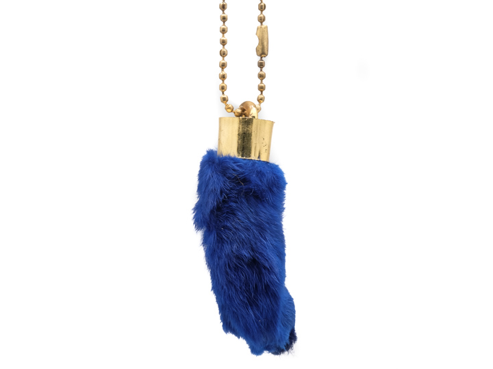 Dyed Rabbit Foot Keychain: Sky Blue