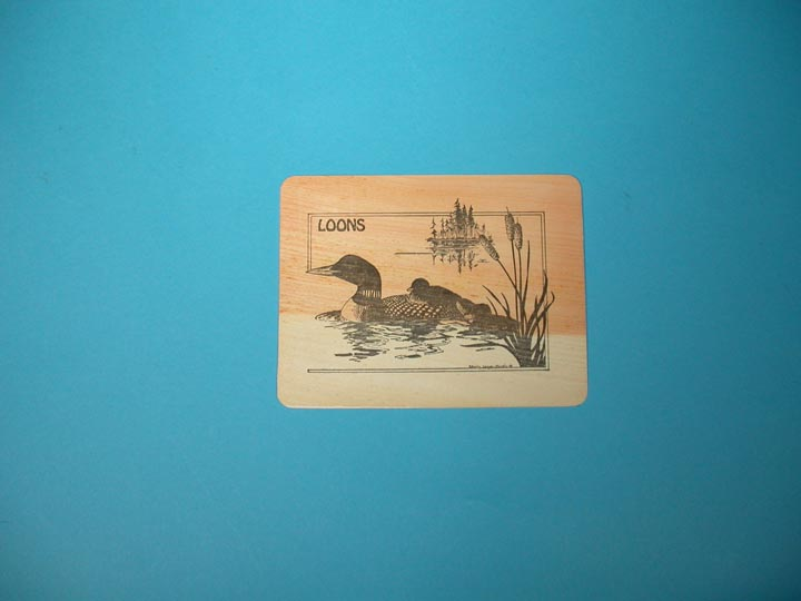 Loons Wooden Postcard