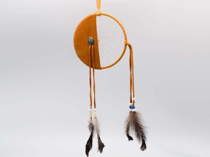 "Navajo 5"" Fancy Half Moon Dreamcatcher with Plastic Beads"