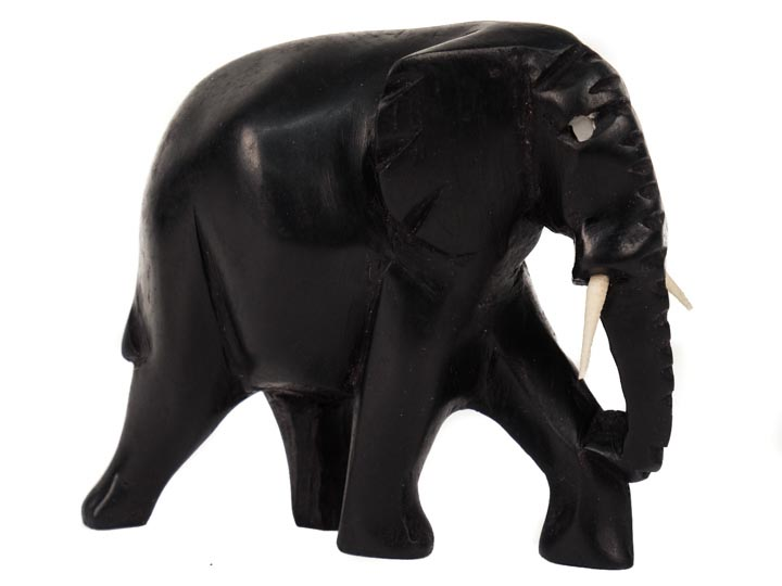 African Elephant Wood Carving: Small: Ebony