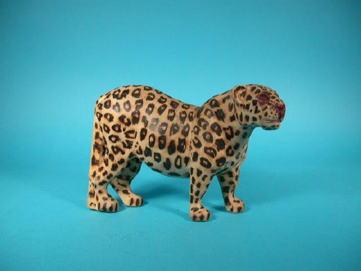 African Leopard Wood Carving