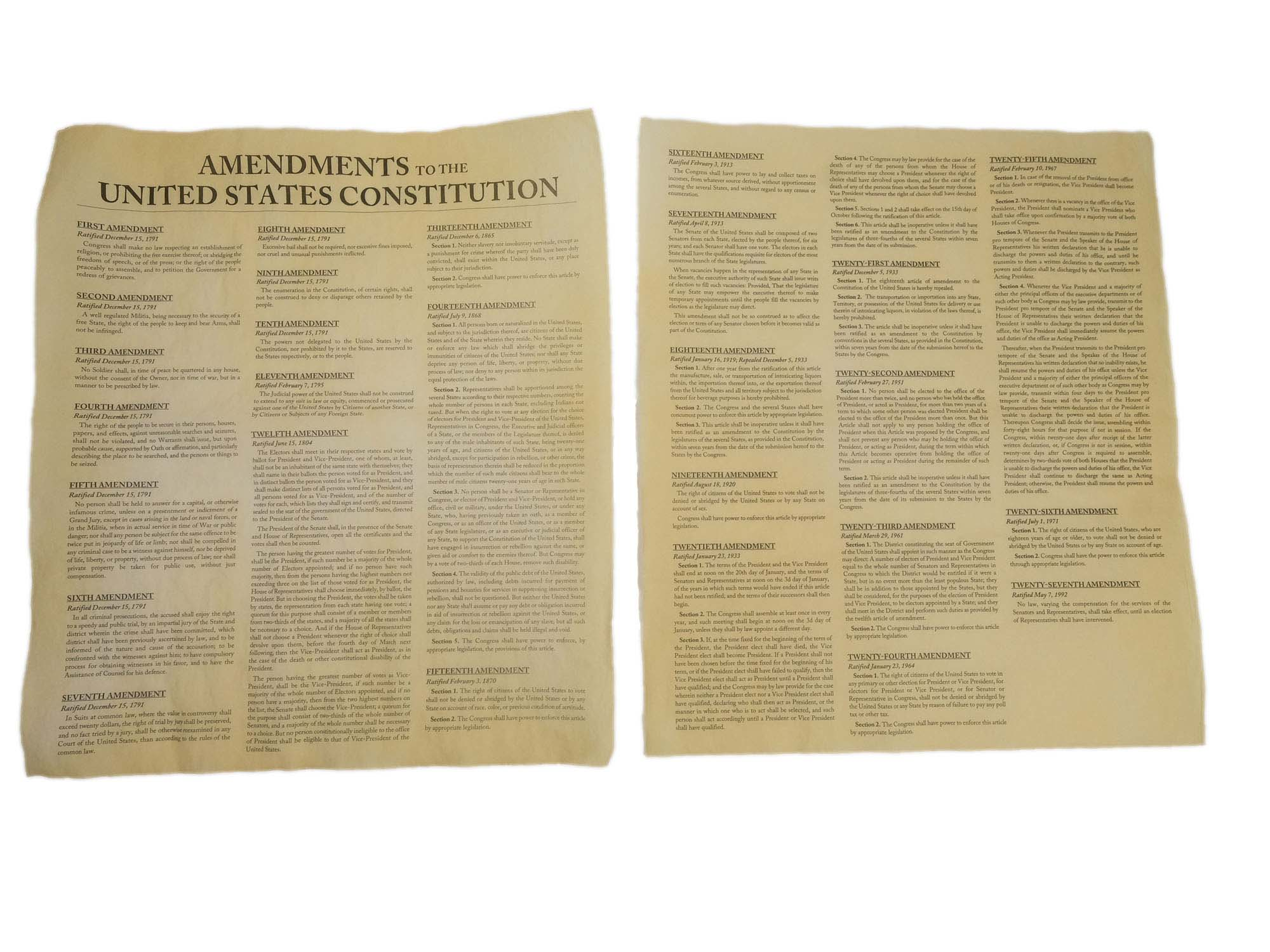 Amendments to the United States Constitution (2 pages)