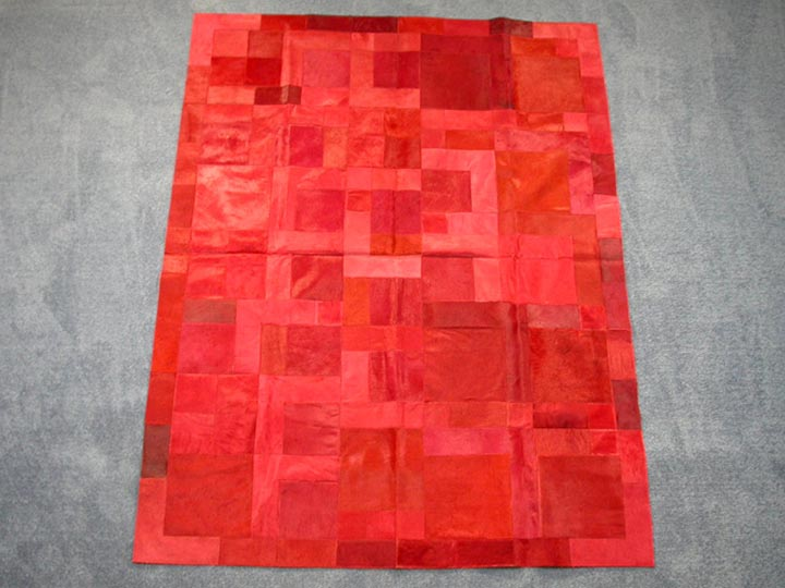 Cow Hide Carpet: Dyed Red: Gallery Item