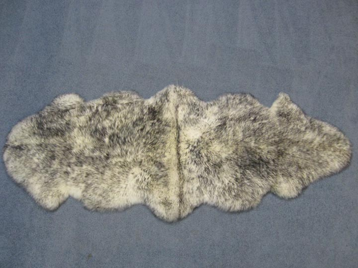 "Australian Sheepskin Double Rug: ~71"" x 25"": White with Black Tips: Gallery Item"