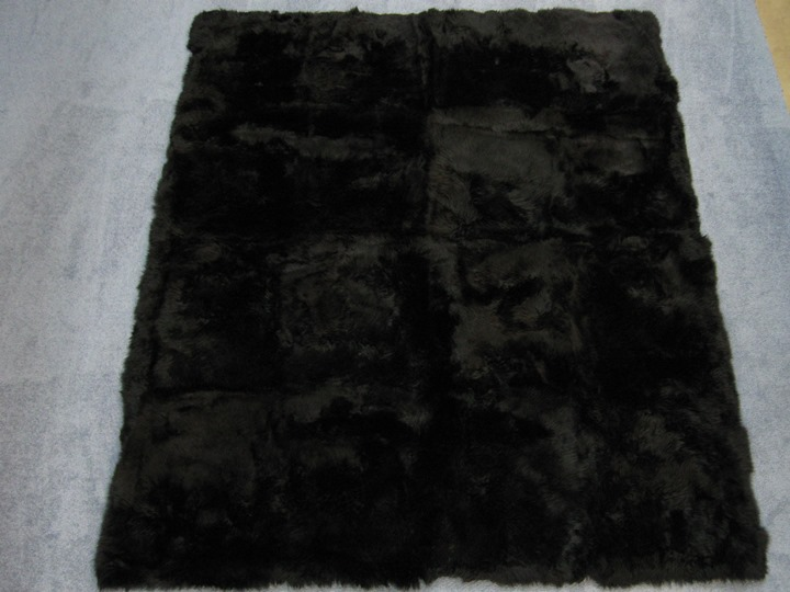 "Dyed Australian Sheepskin Rug: ~84"" x 96"": Black: Gallery Item"