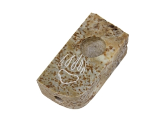 Iroquois Soapstone Pocket Pipe: Bear Paw Design