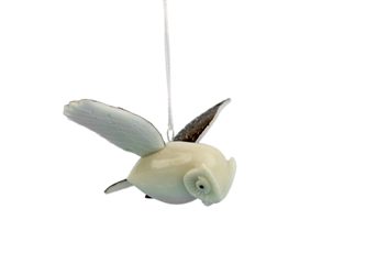 Tagua Nut Carving: Owl (hanging)