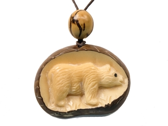 Tagua Nut Necklace: Bear Relief