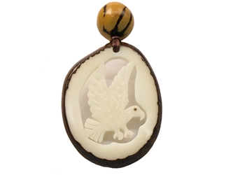 Tagua Nut Necklace: Eagle Cutout