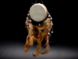 Rawhide Drum with Natural Color Feathers