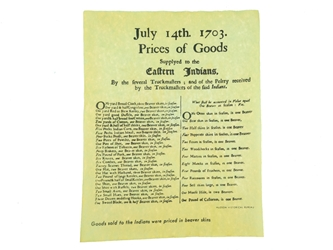 Prices of Goods Supplied to Eastern Indians Parchment