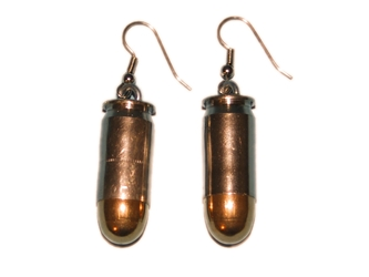 Bullet Earrings: 45CAL Nickel