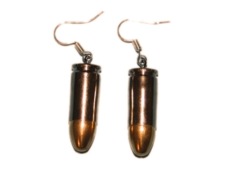 Bullet Earrings: 9MM Nickel