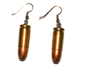 Bullet Earrings: 9MM Brass