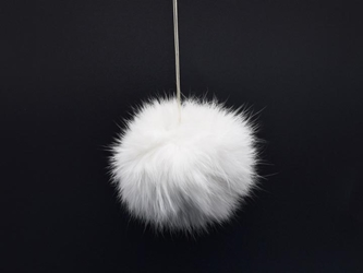 White Czech Rabbit Fur Pompom rabbit fur pompoms, rabbit fur pom poms