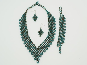 Beaded Necklace, Earrings, Bracelet Set: V style