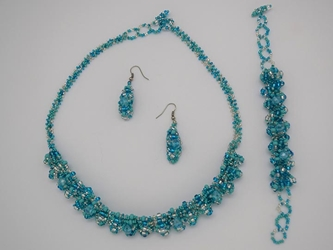 Beaded Necklace, Earrings, Bracelet Set: Ajcot Style