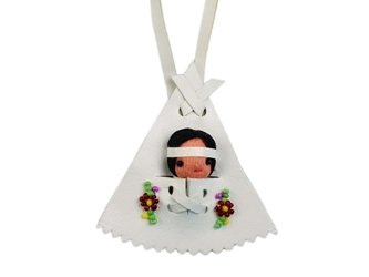 Ojibwa White Papoose Tee Pee Necklace