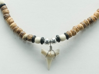 Otodus Fossil Shark Tooth Necklace: Wooden Beads