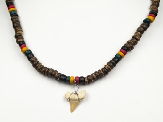 Otodus Fossil Shark Tooth Necklace: Wooden Bead