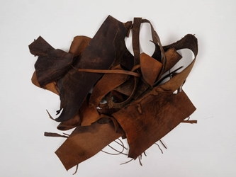 Distressed Woodland Pig Leather Scrap: Natural (lb)