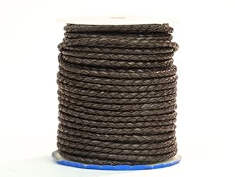 Round Braided Cord 3mm x 25 yard: Chocolate Brown