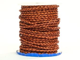 Round Braided Cord 3mm x 25 yard: Cognac