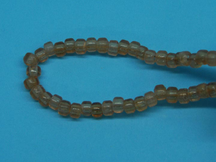 9mm Crow Beads: Translucent Brown (kg) glass beads