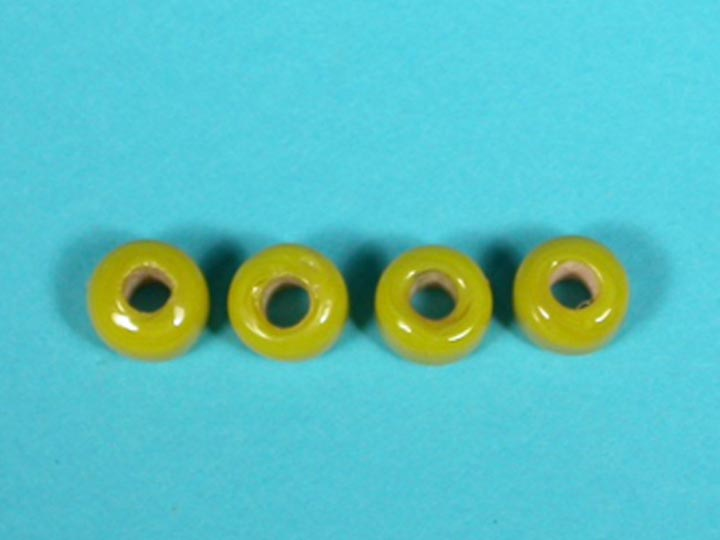 9mm Crow Beads: Opaque Yellow (kg) glass beads