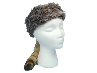 Imitation Davy Crockett Hat With Real Tail imitation davy crockett hats, fake davy crockett hats, reproduction davy crocket hats, fake raccoon fur hats, faux fur hats
