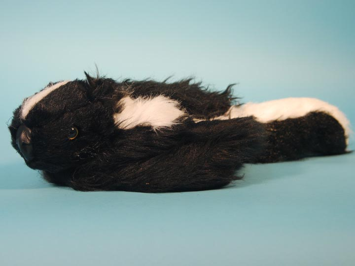 "Imitation Skunk Hat with Face: Adult Medium: 24"" fake skunk fur hats, reproduction skunk fur hats, replica skunk fur hats, faux fur skunk hats"