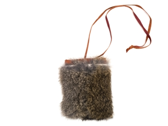 "4"" x 4"" Rabbit Fur Bag with Neck Strap rabbit fur bags"