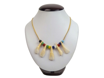 Real Water Buffalo Tooth Necklace: 5-Tooth