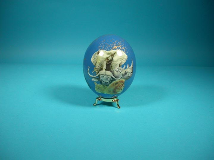 Decoupage Egg: Blue with Animals