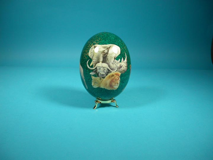 Decoupage Egg: Green with Animals