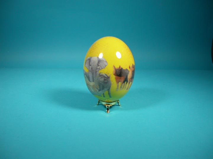Decoupage Egg: Yellow with Animals