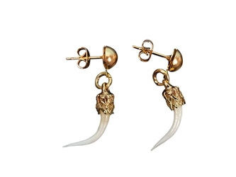 Real Rattlesnake Fang Earrings: Gold